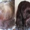 マイナチュレヘアカラートリートメントを使って白髪を染める前と後の髪の毛の写真